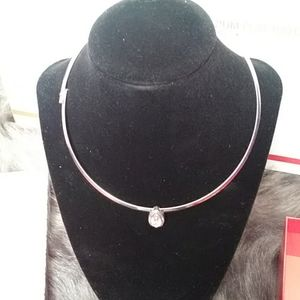 Silver necklace with pink stone